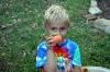 Luke shows off persimmon